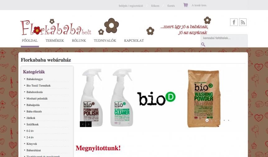 Webáruház a florkabababolt.hu részére