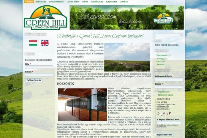 Weblap és webáruház készítés lovascentrumnak