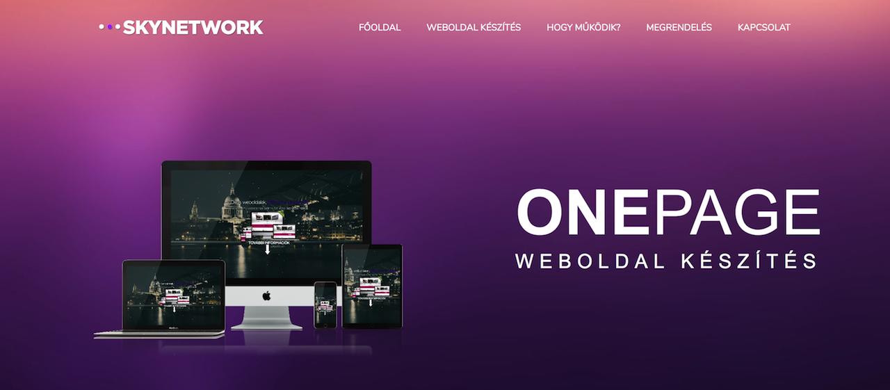 Onepage weboldal készítés